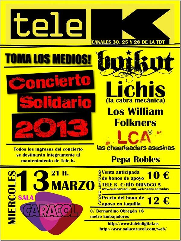 El ayuntamiento de Madrid cierra Caracol Concierto-solidario-Tele-k