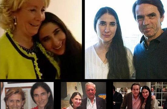 La bloguera contrarrevolucionaria Yoani Sánchez arropada por la derecha española. Foto tomada del blob Yoanislandia.com