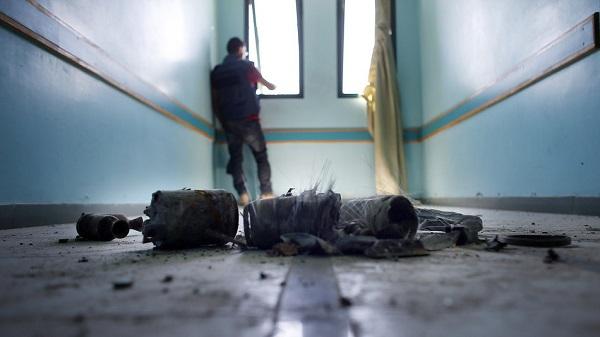 Foto del interior del hospital Al Wafa, Gaza Palestina después del bombardeo.