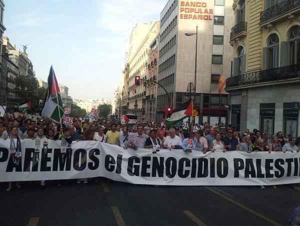 Manifestación en Madrid en apoyo al pueblo palestino.
