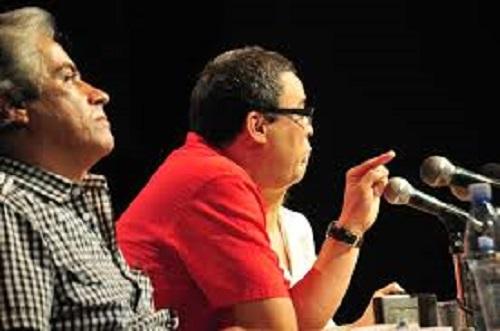 Rubén del Valle Lantarón. Presidente del Consejo Nacional de las Artes Plásticas de Cuba (Al centro de la foto)