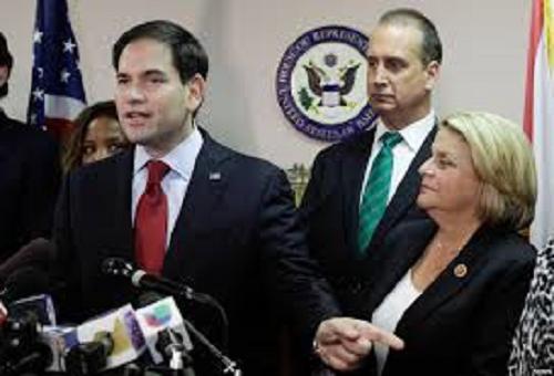 El senador Marcos Rubio. Los congresistas Mario Díaz-Balart e Ileana Ros-Lehtinen.