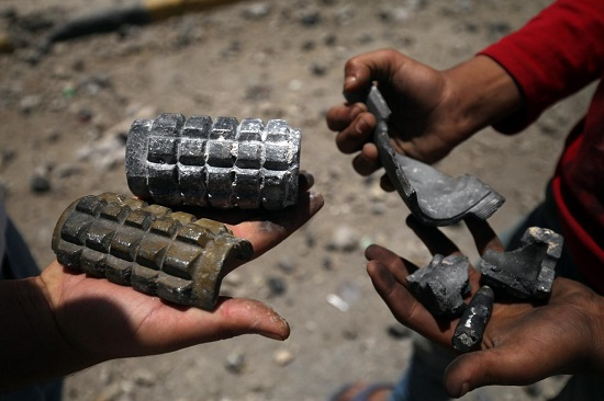 On 21 April, boys hold shrapnel from exploded artillery shells while standing on a street damaged by blasts in Sana'a, the capital. By 12 May 2015 in Yemen, escalating conflict continued to exact a heavy toll on children and their families. Some 300,000 people have been internally displaced. Casualties have reached 1,527, including 115 children, and 6,266 people have been injured, including 172 children. Prior to the current crisis, 15.9 million people – including 7.9 million children – were already in need of humanitarian assistance. Despite the challenging operating conditions, UNICEF is scaling up its humanitarian response, including in the areas of nutrition, water, sanitation and hygiene (WASH), health, child protection and education. Support since the start of the current conflict has included providing access to clean water to 604,360 people and access to antenatal, delivery and postnatal care to 3,386 pregnant women; distributing hygiene kits to 16,662 families; and sharing educational messaging on health, hygiene and protection to 38,000 people. UNICEF has appealed for US$88.1 million to cover these and other responses through December 2015; 87 per cent remains unfunded to date.